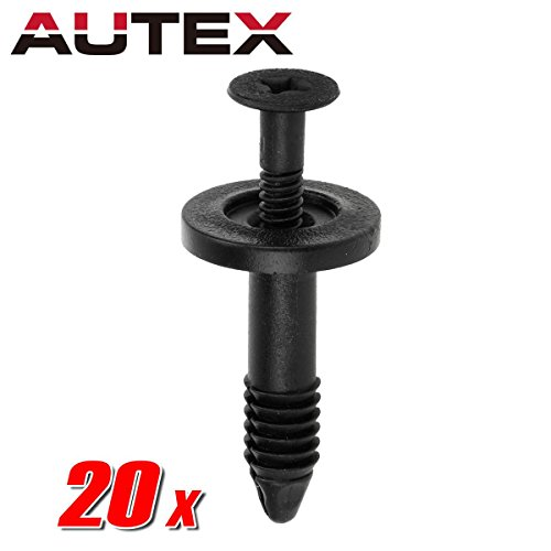AUTEX 20pcs Fender Liner Fastener Rivet Push Clips Retainer Nut Replacement for Ford Aerostar E150 E-150 E250 E-250 E350 E-350 Super Duty E450 Super Duty E550 Econoline Super Duty Windstar