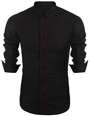 JINIDU Mens Cowboy Shirt Long Sleeve Embroidered Button Down Contrast Piping T Shirt