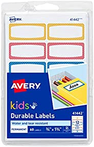 Avery Durable Labels for Kids' Gear, 0.75 x 1.75 inches, Pack o