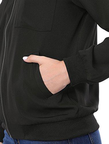 Black tasca Allegra K Light con zip frontale multi Giacca Lady 7wWzStqtg