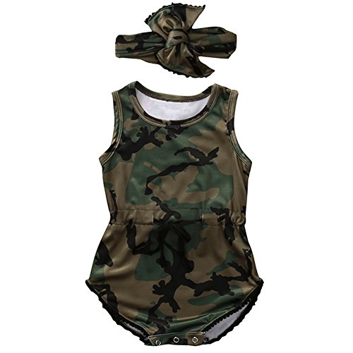 KIDSA 0-2T Infant Toddler Unisex Baby Boys Girls Summer Clothes One-piece Camo Romper Jumpsuit Outfits with Headband, Camouflage, 70(0-6 Months) - Camouflage Outfit