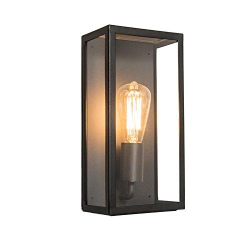 QAZQA Modern Moderne rechteckige Auß en Wandleuchte schwarz mit Glas - Rotterdam 1 / Auß enbeleuchtung/Edelstahl Rechteckig LED geeignet E27 Max. 1 x 60 Watt