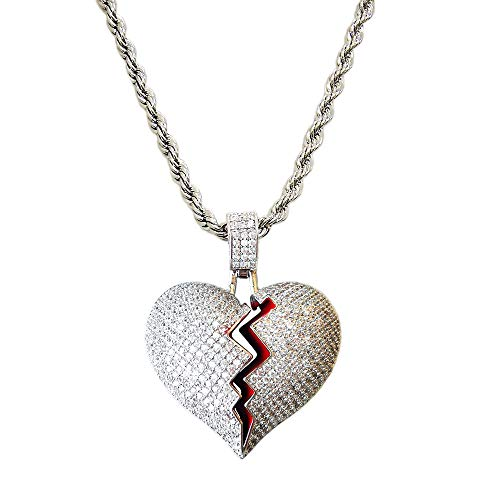 HH Bling Empire Unisex Bling Iced Out Cubic Zirconia Diamond Broken Heart Pendant Chain Necklace 24 Inch (Brass Silver & Rope Chain)