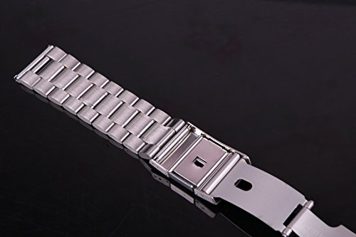23mm Anti Allergic SS Watch Strap Wristband for Men Silver Solid INOX Steel Brushed Finish Straight End by autulet (Image #4)