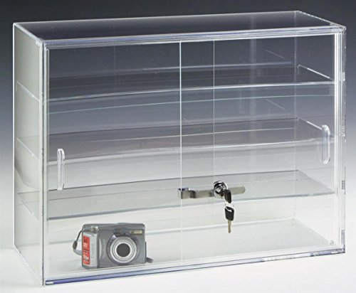 Plastic Display Showcase - Displays2go 22 by 16-Inch Countertop Display Case with 3 Shelves