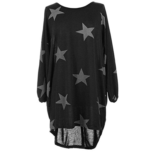 Women Long Sleeve Blouse,Star Printed Pullover High Low Baggy Tunic Puff Sleeve Batwing Blouse Top (2XL, (Stretch Puff)