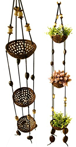 Exotic Elegance 3 Tier Perforated Coconut Shell Hanging Planter Pot. ()