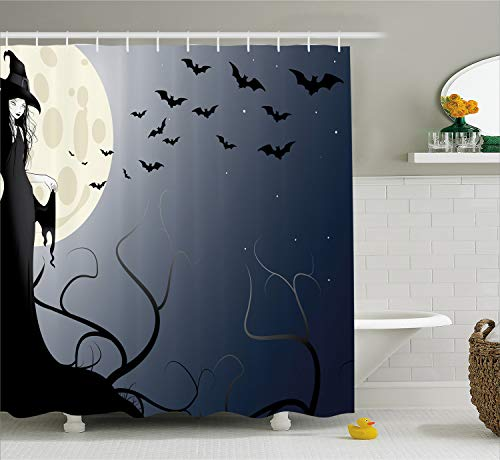 Halloween Decorations Shower Curtain by Ambesonne, Wicked Witch in Twilight on High Hill in Dark Night Magic Fiction, Fabric Bathroom Decor Set with Hooks, 70 Inches, Black Yellow