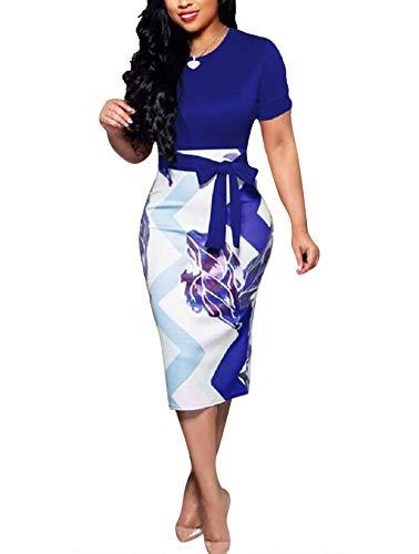 Women' Short Sleeve Bodycon Dress -Cute Bowknot Floral Pencil Dress (X-Large, Blue)