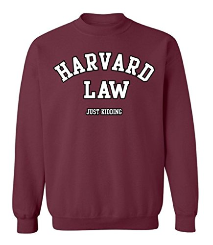 School Crewneck Sweatshirt (Raxo Harvard Law Crewneck Just Kidding Geek College Humor Cool Gift Sweatshirt S)