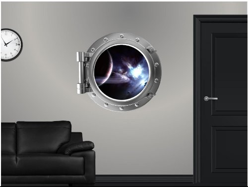 Porthole through a Spaceship of Saturn & Moons
