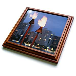 Danita Delimont - Fire - USA, Hawaii, Hawaiian torches with skyline in background. - 8x8 Trivet with 6x6 ceramic tile (trv_206581_1)