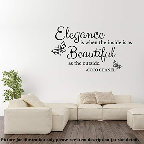Elegance is when the inside is as Beautiful as the outside - Coco Chanel quotes, Women wall stickers Quotes decor, Vinyl Wall Quotes, Removable Wall Art decals