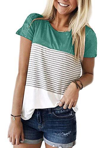 TWKIOUE Short Sleeve Shirt Round Neck Triple Color Block Stripe T-Shirt Casual Summer Blouse Green 2XL