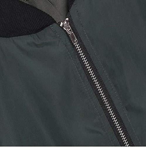 Larga Cuello Moda Outerwear Otoño Retro Vintage De Abrigos Corto Aviador Mujer Bomber Grün Outdoor Con Ocasional Cremallera Stand Invierno Manga Chaqueta Chaquetas qwXFRntC