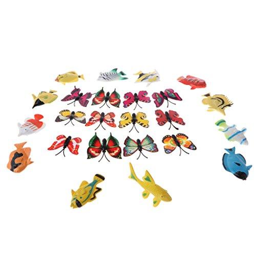 Fenteer プラスチック製 蝶々 魚玩具モデル おもちゃ 昆虫模型玩具 24点パック PVC製