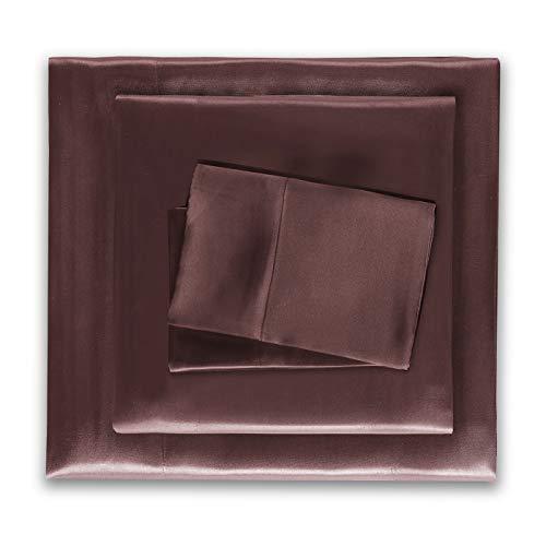 HONEYMOON HOME FASHIONS Satin Sheets Queen 4 Pieces Chocolate (Sheets Silk Brown)