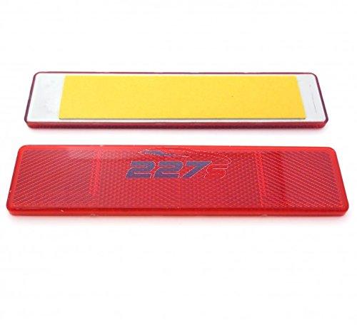 2x Red Large Rectangular Reflectors, Self-Adhesive, 173mm x 40mm, Trailer, gates 227s