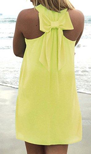 de Partido Corbata Mini Moda Mujeres Sin Cuello Vestidos Playa Verano Cóctel de Vestido Mangas Backless Casual Sexy de Moño Smalltile U 86zq6