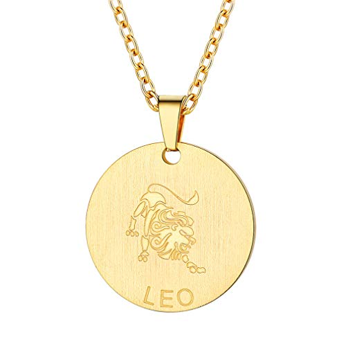 Leo Charm Gold Plated - FaithHeart Customizable Astrology 12 Constellation Horoscope Necklace, 18K Gold Plated Leo Zodiac Star Sign Coin Pendant Necklace Birthday Gifts Lucky Charms Layered Necklace (Gold)