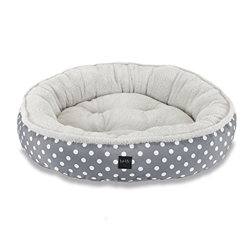Home Dynamix Nicole Miller Comfy Pooch Pet Bed, 30 Inch Round, Gray Polkadots