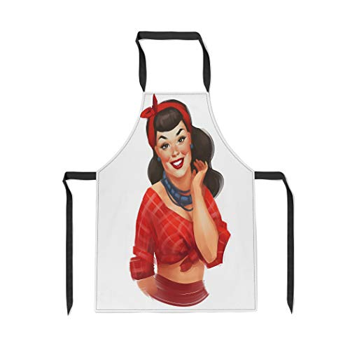 Pinbeam Apron Retro Pin Up Woman Red Cheeks Long Black with Adjustable Neck for Cooking Baking Garden ()