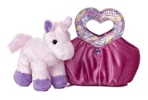 Aurora World Fancy Pals Plush Toy Pet Carrier, Hot Pink Heartfelt