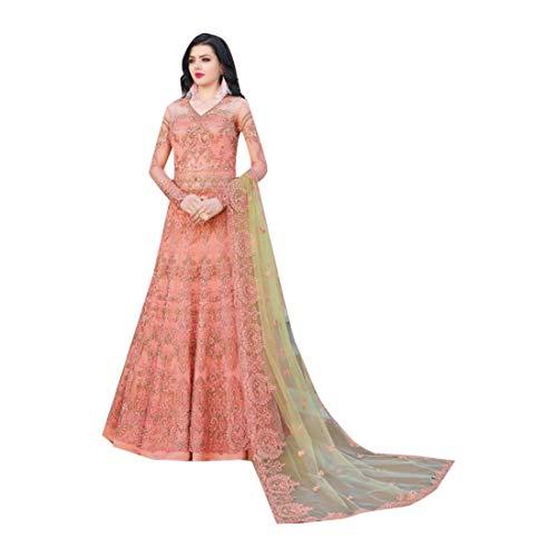 - Peach Indian Bollywood Evening Cocktail Net Anarkali Salwar Skirt style Suit Abaya Women Eid dress Semi-stitch 7942 4