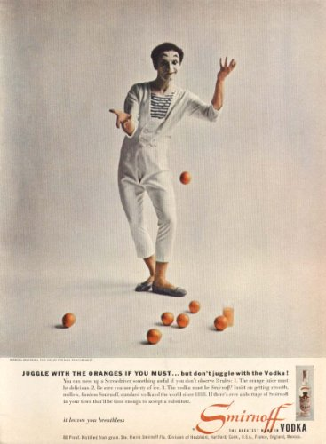 Orange Vodka - Marcel Marceau for Smirnoff Vodka ad 1956 oranges