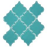 Giorbello G9131 Glass Arabesque Tile, Teal