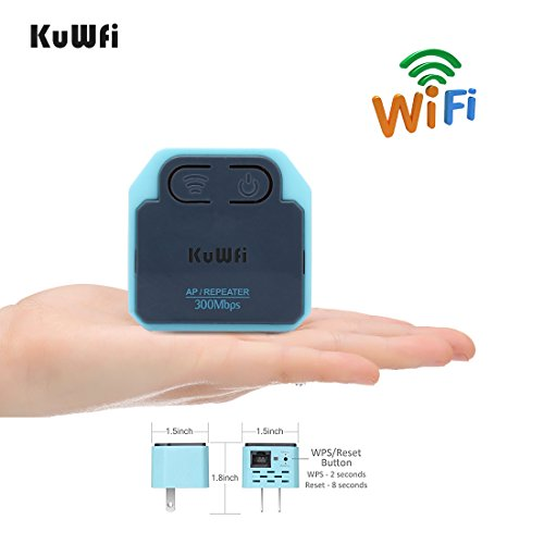 300Mbps WIFI Extender ,KuWFi MINI Wireless Repeater 2.4Ghz AP Router 802.11N Wall Plug Wi-Fi Signal Amplifier Range Extender Booster