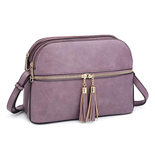Functional Multi Pockets Lightweight Medium Crossbody Bags Purses for Women Double Zipper Shoulder Messenger Bag with Tassel (Purple)