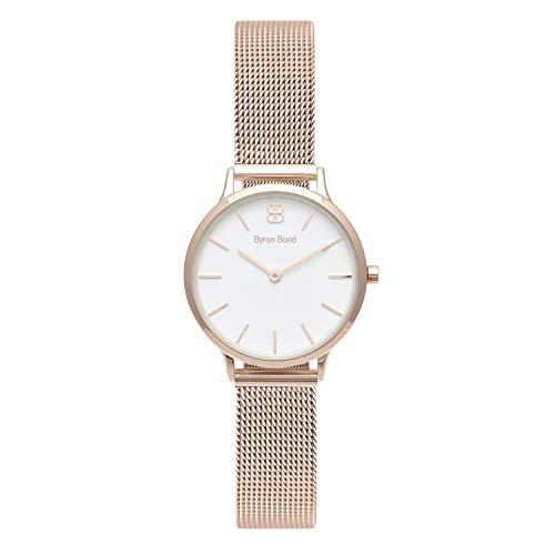 Byron Bond Mark 5 - Luxury 32mm Wrist Watches for Women (Dean - Rose Gold Case with White Dial and Rose Gold Mesh Strap)