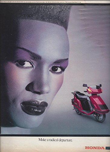 **PRINT AD** With Grace Jones For 1985 Honda Scooters: Make A Radical Departure