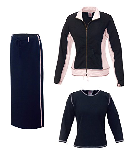Terry Drawstring Skirt (Baby'O Women's Three Piece Athletic Jacket Skirt Set, pink, m)
