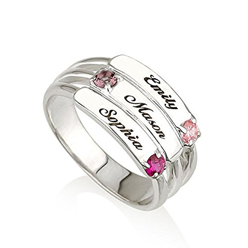 3 Stone Designer Ring - Mothers Ring Engraved Birthstone Ring 3 Stones Ring -925 Sterling Silver - Personalized & Custom Made