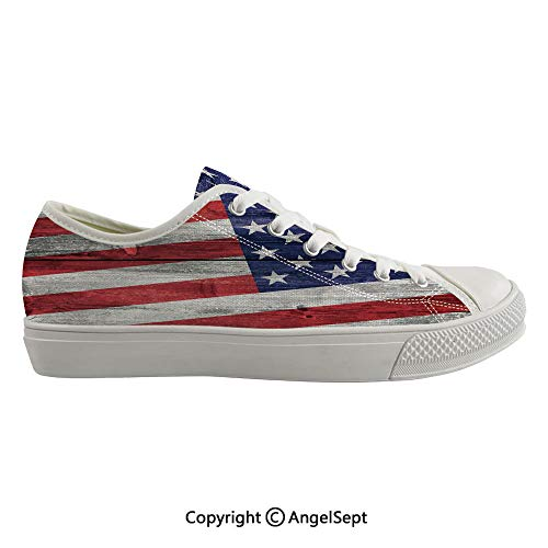 Durable Anti-Slip Sole Washable Canvas Shoes 16.53inch July Independence Day Commonwealth Country Emblem Patriotism Wooden Plank Looking, Flexible and Soft Nice Gift ()