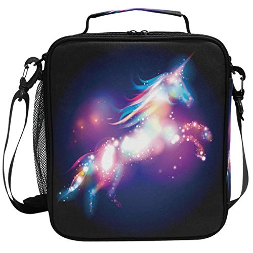 Wamika Unicorn Magic Design With Stars Lunch Box Insulated Lunch Bag Large Freezable Mermaid Unicorn Rainbow Galaxy Space Lunch Bag Tote Cooler Lunch Meal with Shoulder Strap ()