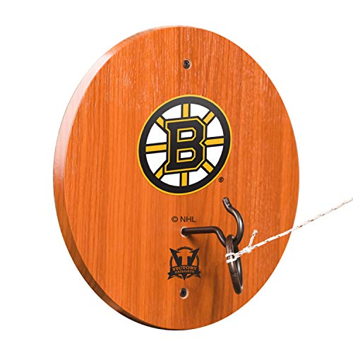 Victory Tailgate NHL Hook & Ring Toss - All Wood Target with Rubbed Bronze Hook and Ring - Boston Bruins (Room Game Boston)