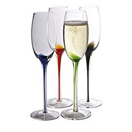 Artland Splash Flute Glasses (Set of 4), Multicolor, 7 oz 3 This set includes: four Multicolored 11 ounce wine glasses These splash Multicolored wine glasses are exceptional fine glasses of incredible function and beauty Decorative and functional, these splash wine glasses' showcase an exquisite and colorful unique design, that is signature to Artland, that adds an element of elegance to any tabletop or dinner Table