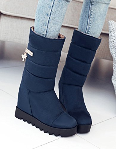 Warm Round Pull Navy Fur Mid Boots Calf Women's Rhinestone High Heel Elevator Blue Aisun Toe Snow Lined Faux On Platform FA4qtnxtP