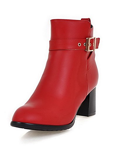 Heels Kitten Material Boots Red Top Toe Closed Solid Low Womens AllhqFashion Round Soft vnaqU