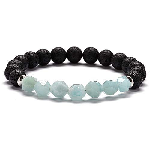Natural Faceted Stone Bracelet for Women Chakra Bracelet Men Quartz Crystal Lava Stone Bracelet Yoga Meditation Charm ()
