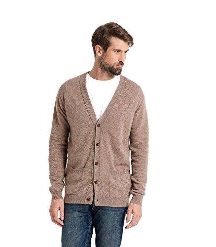 WoolOvers Strickjacke mit V-Ausschnitt aus Lammwolle für Herren Pepper, XL