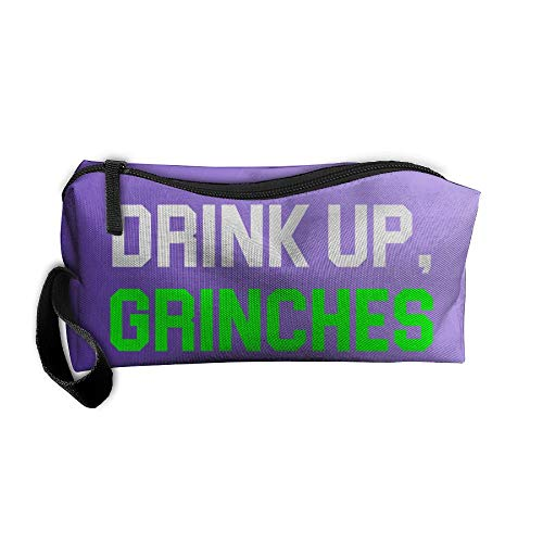 Drink UP Grinches Green Travelling Jewelry Pouch For Womens Cosmetic Case With Zipper