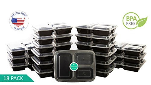 Meal Prep Containers| 3 Compartment | USA Made | Bento Box | 18 Pack Food Storage Lunchbox
