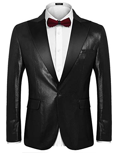 COOFANDY Mens Black Metallic Shiny Suit One Button Tuxedo for Banquet ()