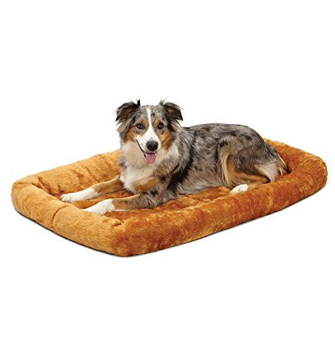 42L-Inch Cinnamon Dog Bed or Cat Bew w/ Comfortable Bolster | Ideal for Large Dog Breeds & Fits a 42-Inch Dog Crate | Easy Maintenance Machine Wash & Dry | 1-Year Warranty