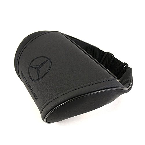 Car Interior Black Neck Support Pillow Headrest Neck Cushion with Embroidered Black Emblem Accessories Compatible for Merecedes Benz Great idea for a Gift to The Driver!