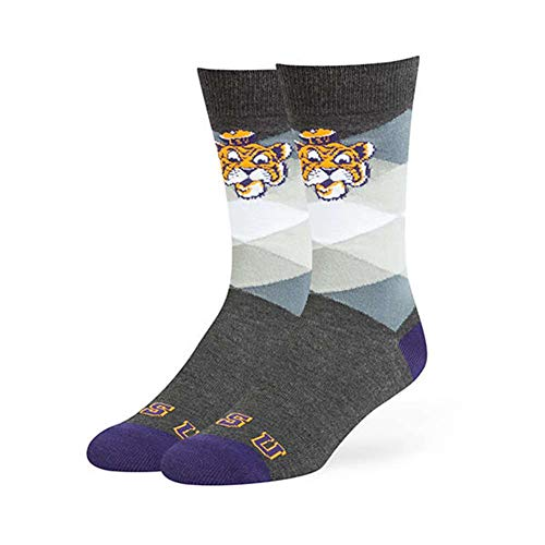 - '47 NCAA LSU Tigers Mens NCAA Men's Prescott Flat Knit Sockncaa Men's Prescott Flat Knit Sock, Charcoal, Large (Men's Sizes 9-13)
